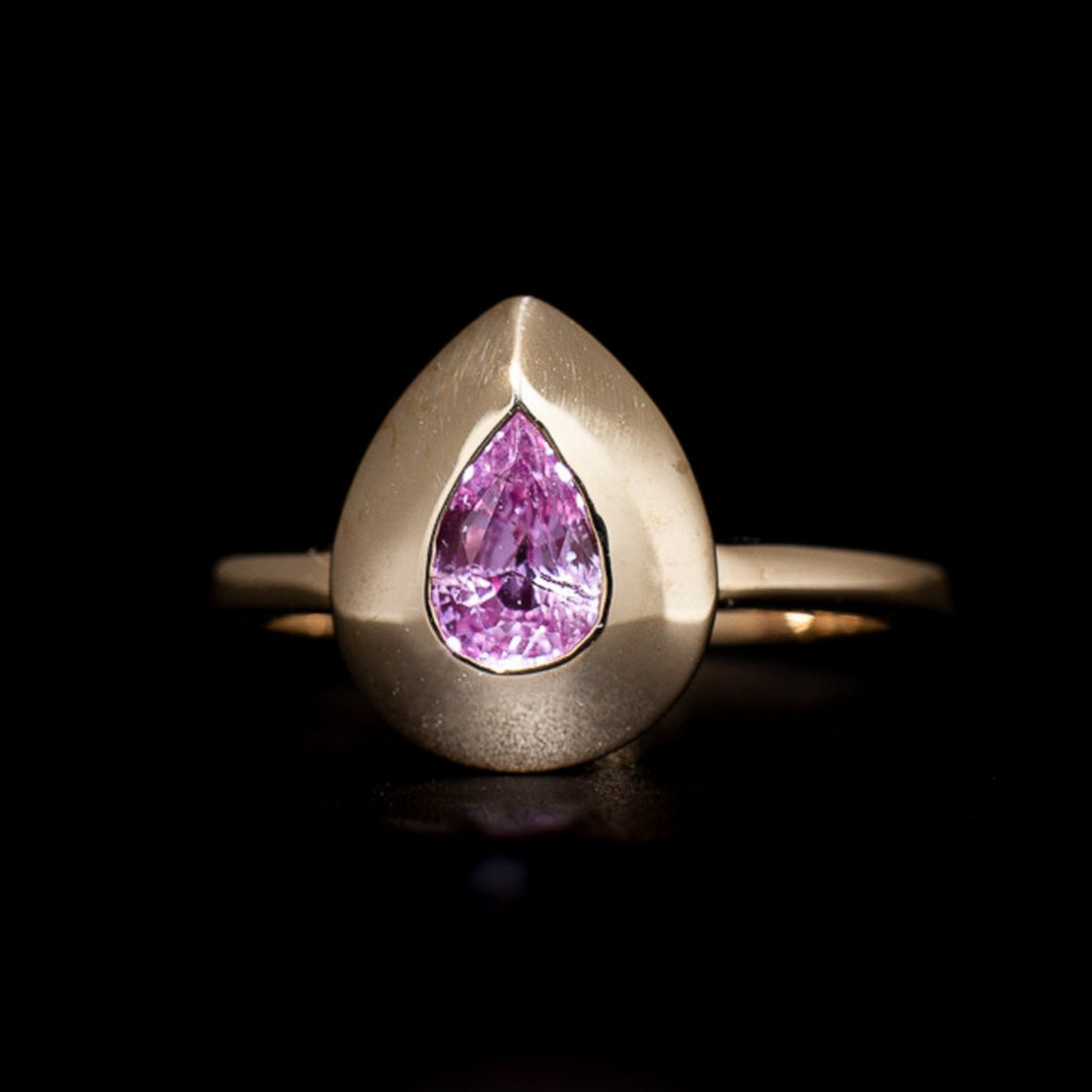 """Neo-Geo"" Pink Sapphire Gold Ring"