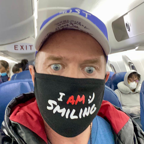 """I AM smiling"" face mask - black"