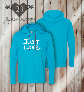 JUST LOVE - HOODIE TEE - CARIBBEAN BLUE
