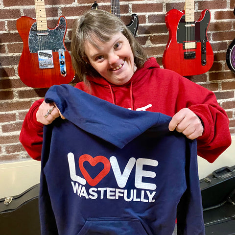 LOVE WASTEFULLY hoodie - navy
