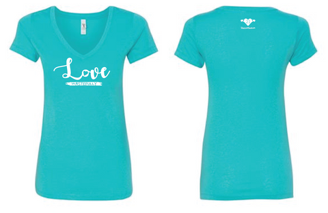 LOVE WASTEFULLY LADIES V NECK - TAHITI BLUE