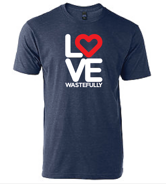 LOVE WASTEFULLY STACKED  - DENIM (unisex)