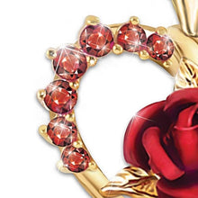 Load image into Gallery viewer, Red Rose Pendant Necklace