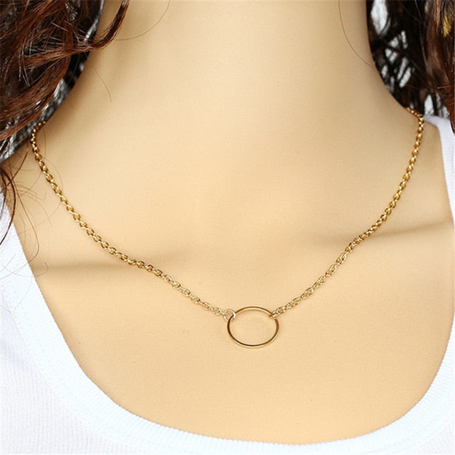 Minimalist Circle Pendant Necklace
