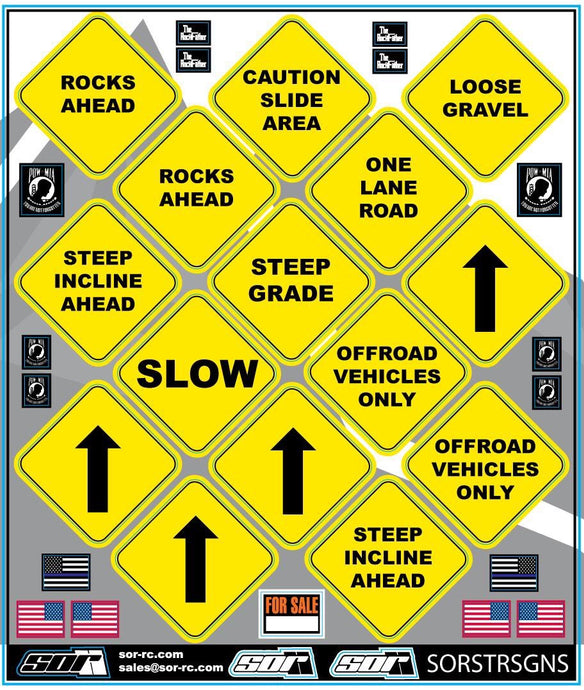 SOR Scale Street Sign Decal Sheet (2pk)