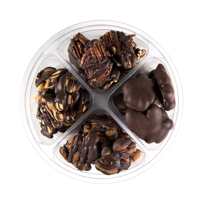 Chocolate Caramel Nut Clusters, Dairy Free, Kosher.