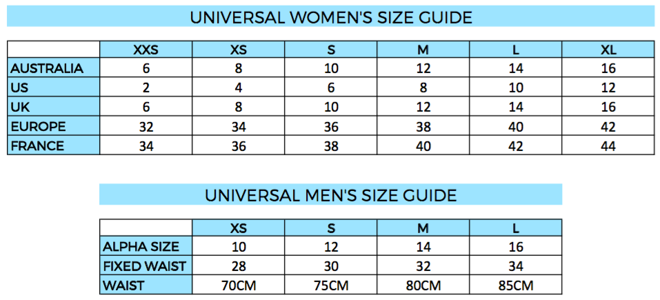 Women's and Men's size chart