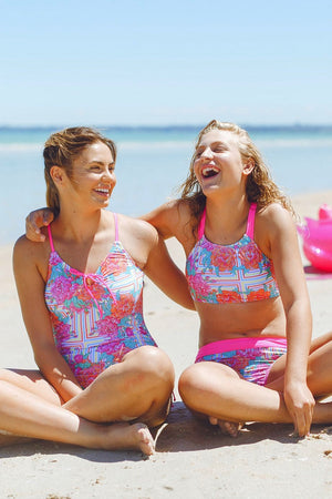 Barbie Girls One Piece Swimsuit in Peony Candy Print