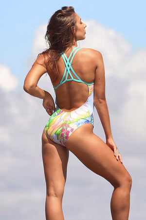 Freestyle Women's One Piece Swimsuit in Crisp Mint Print