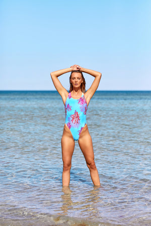 Athena Cross Back Women's One Piece Swimsuit in Misty Coral Print