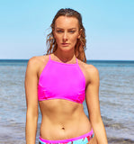 High Neck Halter Women's Bikini Top in Hot Pink