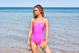Tie Back Women's One Piece Swimsuit in Hot Pink