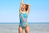 Race Me Women's One Piece Swimsuit in Daffodil Amber Print