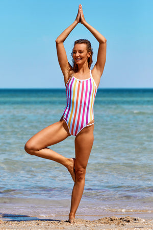 Race Me Women's One Piece Swimsuit in Horizon Stripes