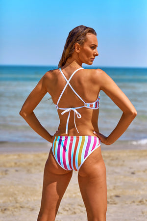 Bow Tie Me Women's Bikini Set in Horizon Stripes