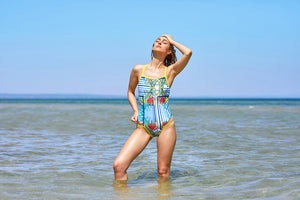 Race Me Women's One Piece Swimsuit in Canary Print