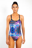 Freestyle Women's One Piece Swimsuit in Blue Paradise Print