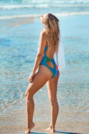 Freestyle Women's One Piece Swimsuit in Pineapple Navy Print