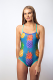 Race Me Women's One Piece Swimsuit in Pineapple Navy Print