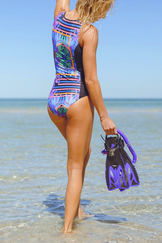 Scuba Elite Women's One Piece Swimsuit in Blue Paradise Print