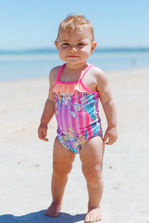 Ballerina Baby One Piece Swimsuit in Daffodil Madness Print