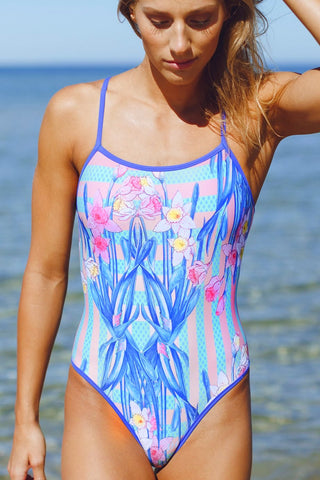 Butterfly Women's One Piece Swimsuit in Daffodil Passionfruit Print