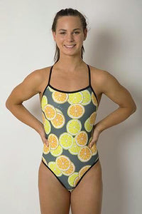 Butterfly Women's One Piece Swimsuit in Colour Lemon + Lime