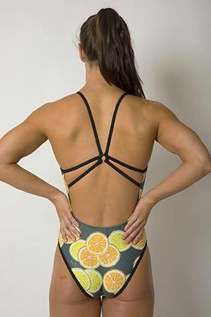 Butterfly Women's One Piece Swimsuit in Lemon + Lime Print