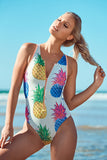 Eliza Women's One Piece Swimsuit in Pineapple Pink Print