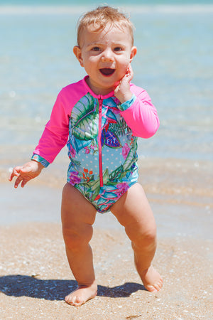 Surfy Baby One Piece Swimsuit in Minty Dream Print