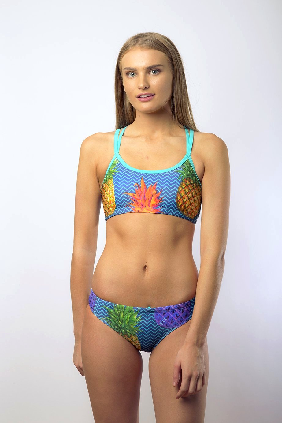 Freestyle Women's Two Piece Bikini in Pineapple Navy Print