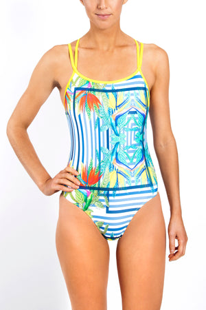 Freestyle Women's One Piece Swimsuit in Canary Print
