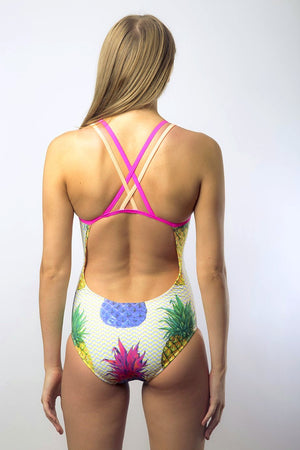 Freestyle Women's One Piece Swimsuit in Pineapple Pink Print