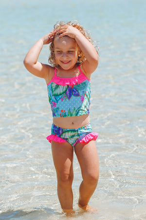 Ballerina Baby Two Piece Swimsuit in Minty Dream Print