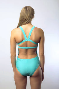 Kylie Elite Women's One Piece Swimsuit in Colour Aqua Solid