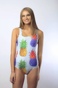 Kylie Elite Women's One Piece Swimsuit in Colour Pineapple Aqua