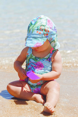 Baby Sun Cap in Minty Dream Print
