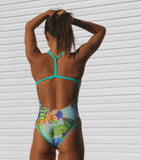 Race Me Women's One Piece Swimsuit in Crisp Mint Print