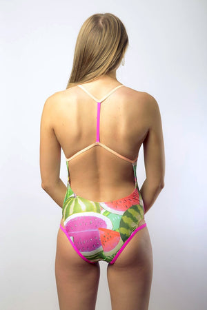 Race Me Women's One Piece Swimsuit in Watermelon Print