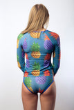 Open Water Women's Rash Guard in Pineapple Navy Print