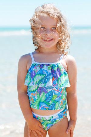 Ruffle Baby Two Piece Swimsuit in Lush Garden Print