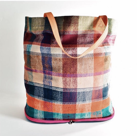 Vintage Marrakech Blanket Collapsable Tote ~ Orange - Leo Collective