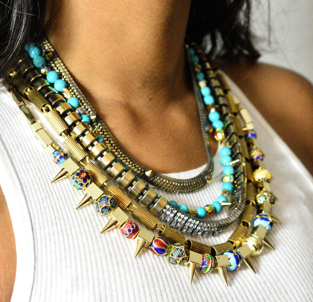 Turquoise + Brass Layered Necklace - Leo Collective