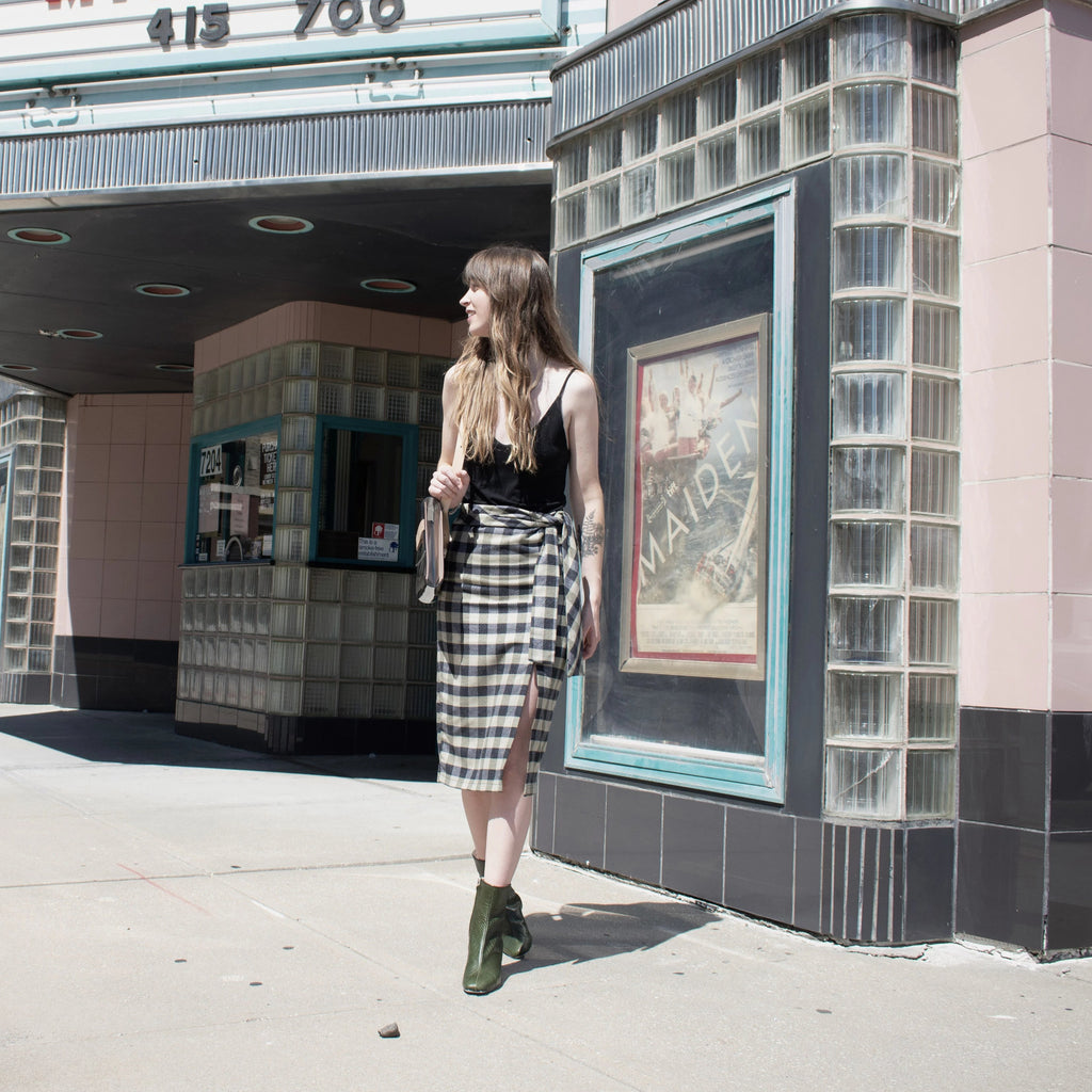 Moss Plaid Midi Skirt - Leo Collective