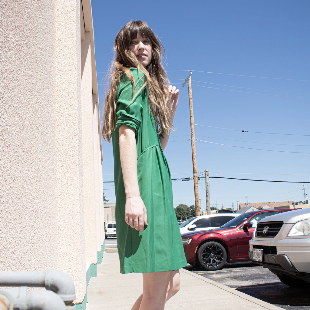Deep Jade Shirt Dress - Leo Collective
