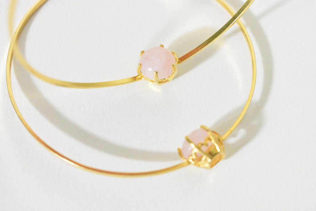 Rose Quartz Big Hoop Earrings - Leo Collective
