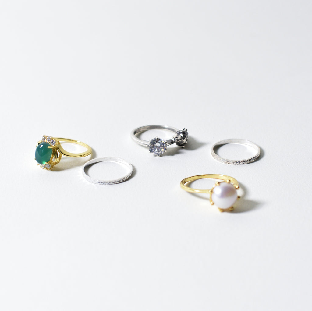 Ram and Pearl Stack Rings - Leo Collective