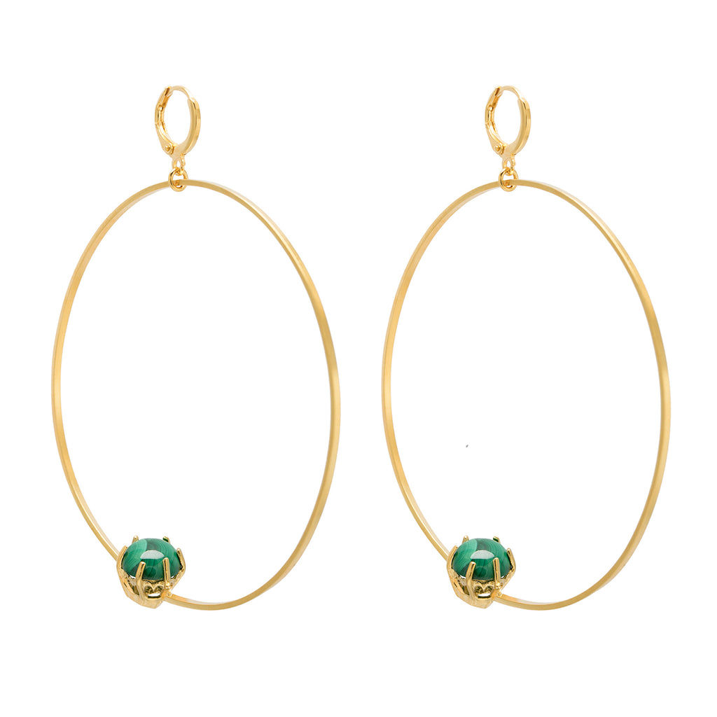 Malachite Hoop Earrings - Leo Collective
