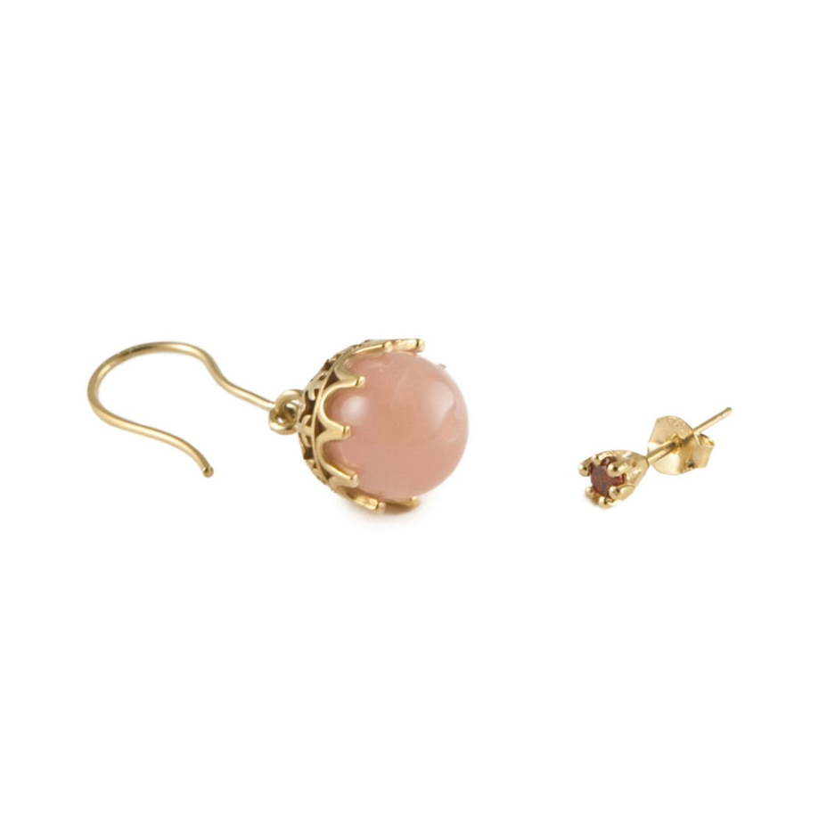 Iosselliani Rose Quartz Single Drop and Red Zircon Stud 18k Gold Plated Earring - Leo Collective
