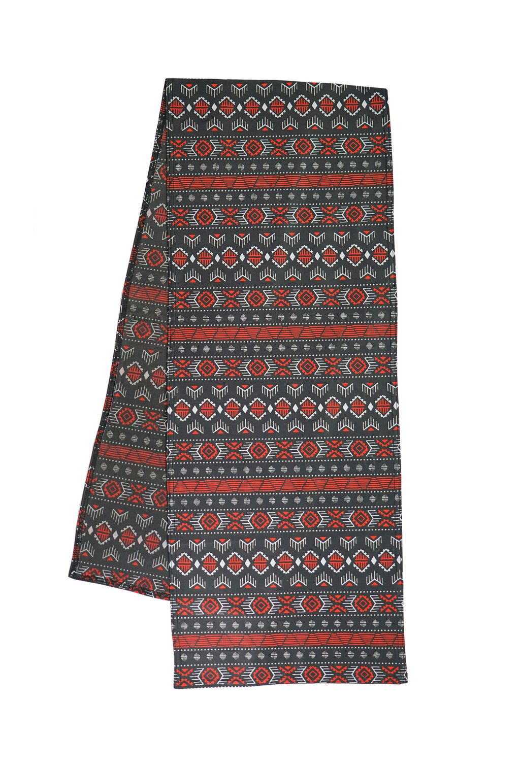 Super comfortable music festival pashmina. Unique tribal patterns with vibrant red, white, and black colors. The perfect music festival accessory that can be used as a face mask.